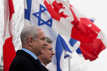 PM Harper and PM Netanyahu with flags